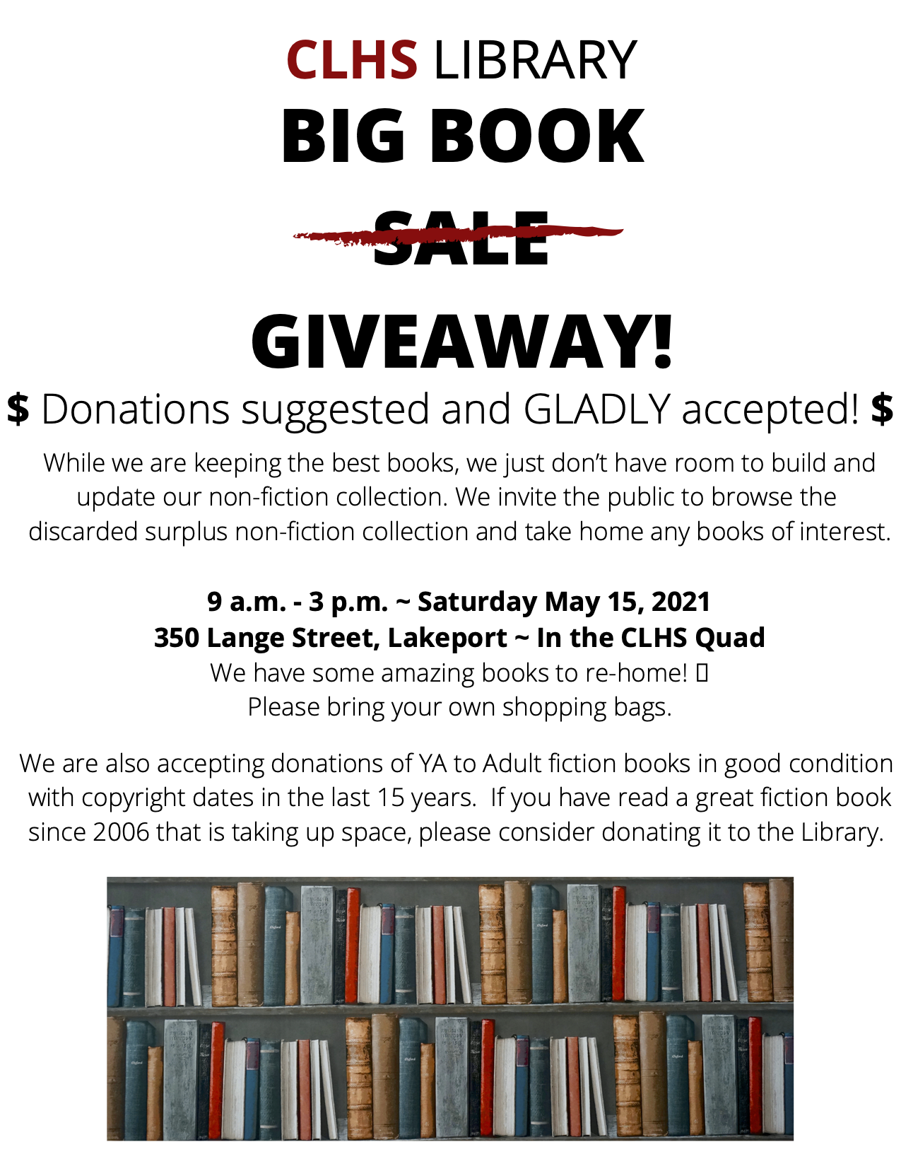 CLHS Library Big Book Giveaway, Saturday, May 15, 2021, in the CLHS Quad